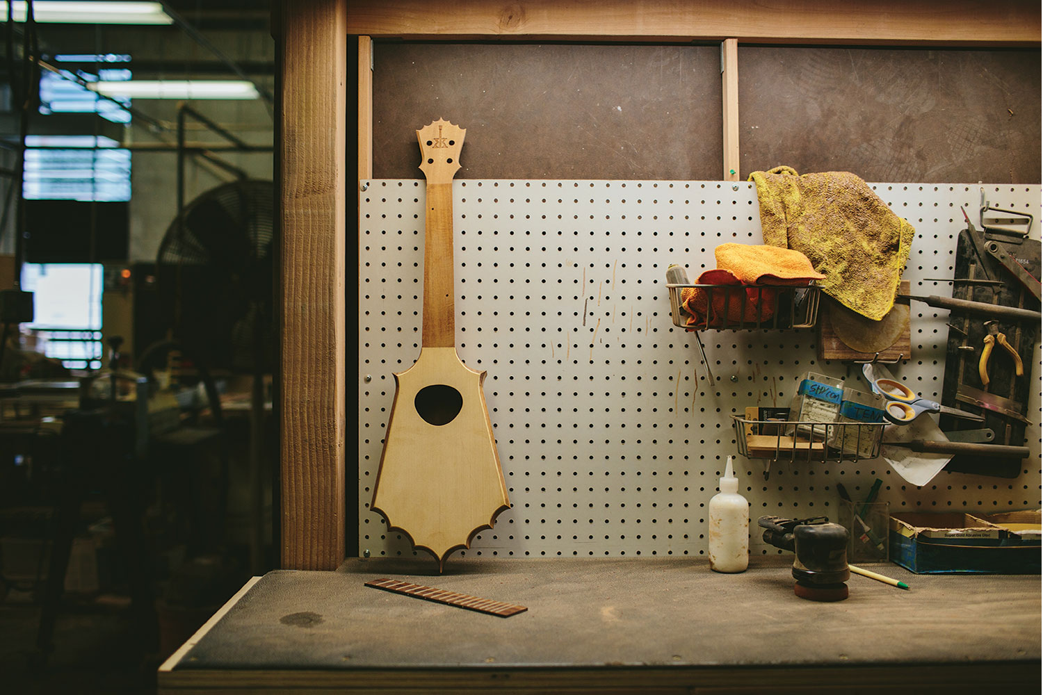 Raw ukulele in shop