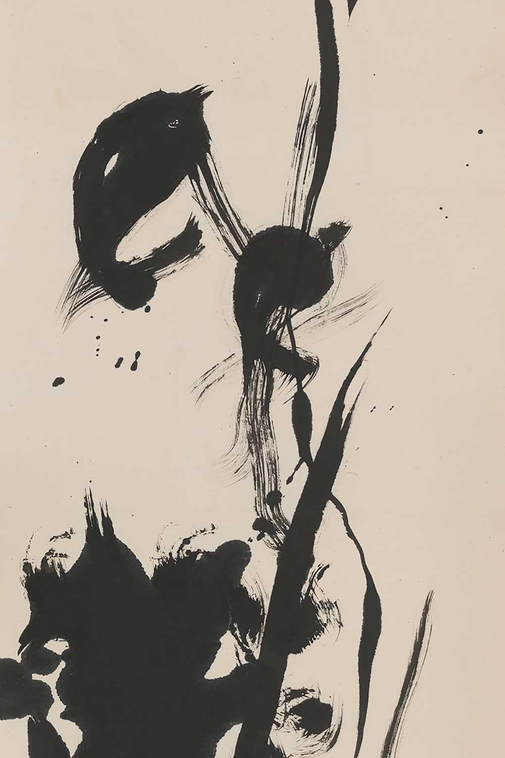 black abstract calligraphy on paper by Hasegawa