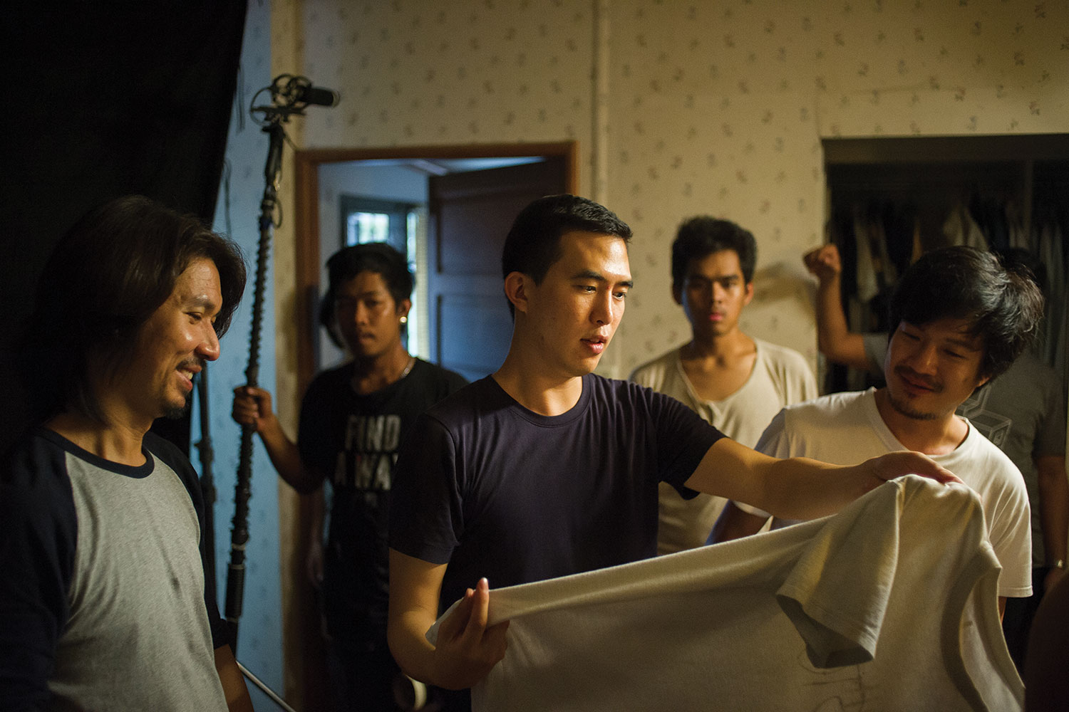Jason Kim on the set of his award-winning feature.