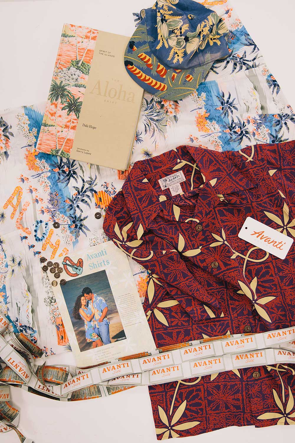 Assortment of aloha shirts by Avanti Designs.