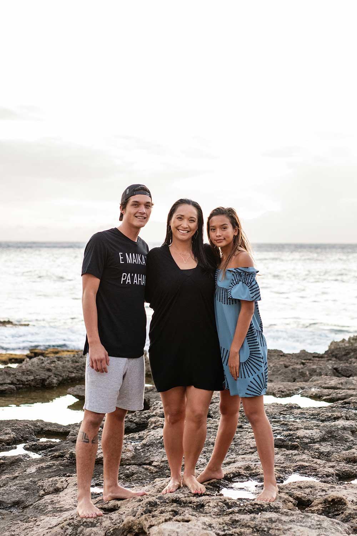 Mālia Ka'aihue (middle) and Micah (left) and Keānuenue DeSoto (right)
