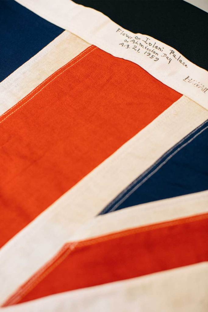 Close up of a label on a Hawaiian flag