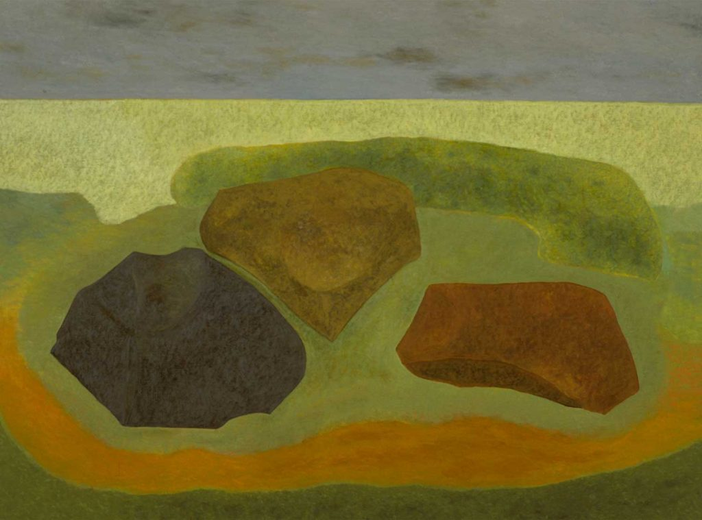 Oil painting on canvas with muted colors of three rocks