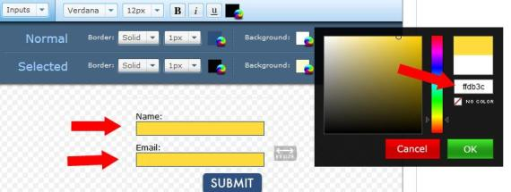input form background color to yellow