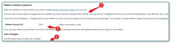 WordPress and AWeber Integration - Enter Settings
