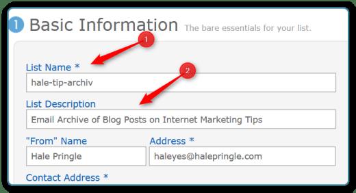 Newsletter Ideo - Basic Information for New List