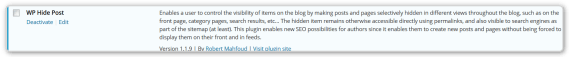 WP Hide Post - Handle Lots of Blog Pages