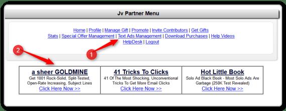 JV Giveaway menu-Text Ad Management