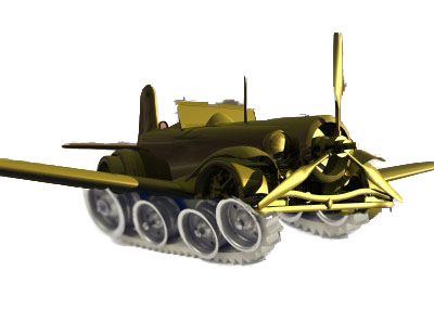 Car with Wings and Tank Treads