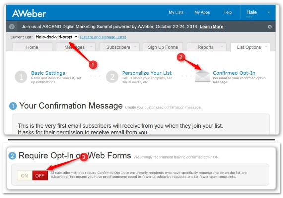 List Building Using LeadPages -  - Turn Off Confirmation