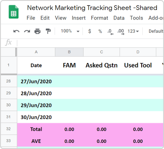 Network Marketing Activity Tracking