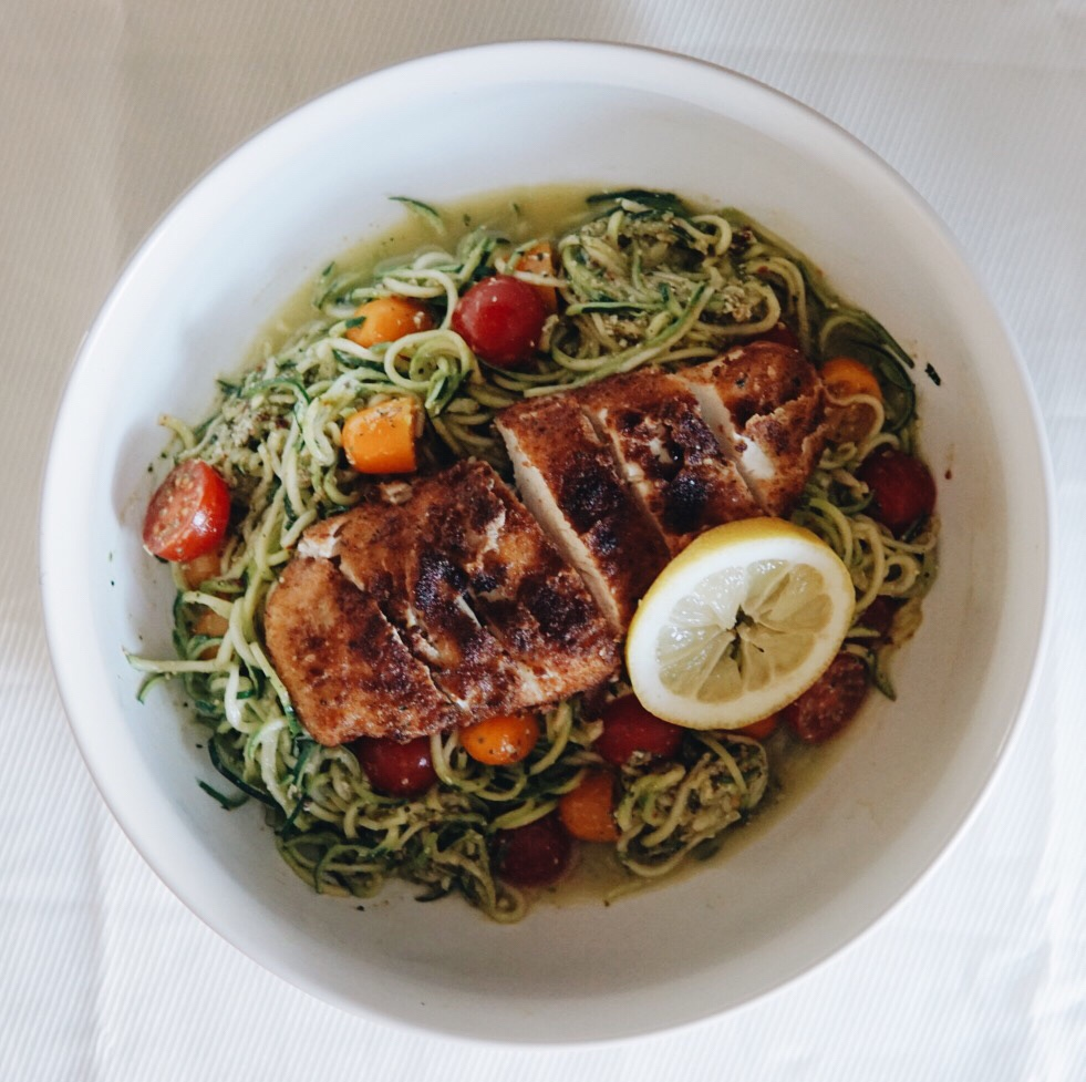 Paneed Chicken with Pesto Zoodles {Recipe}