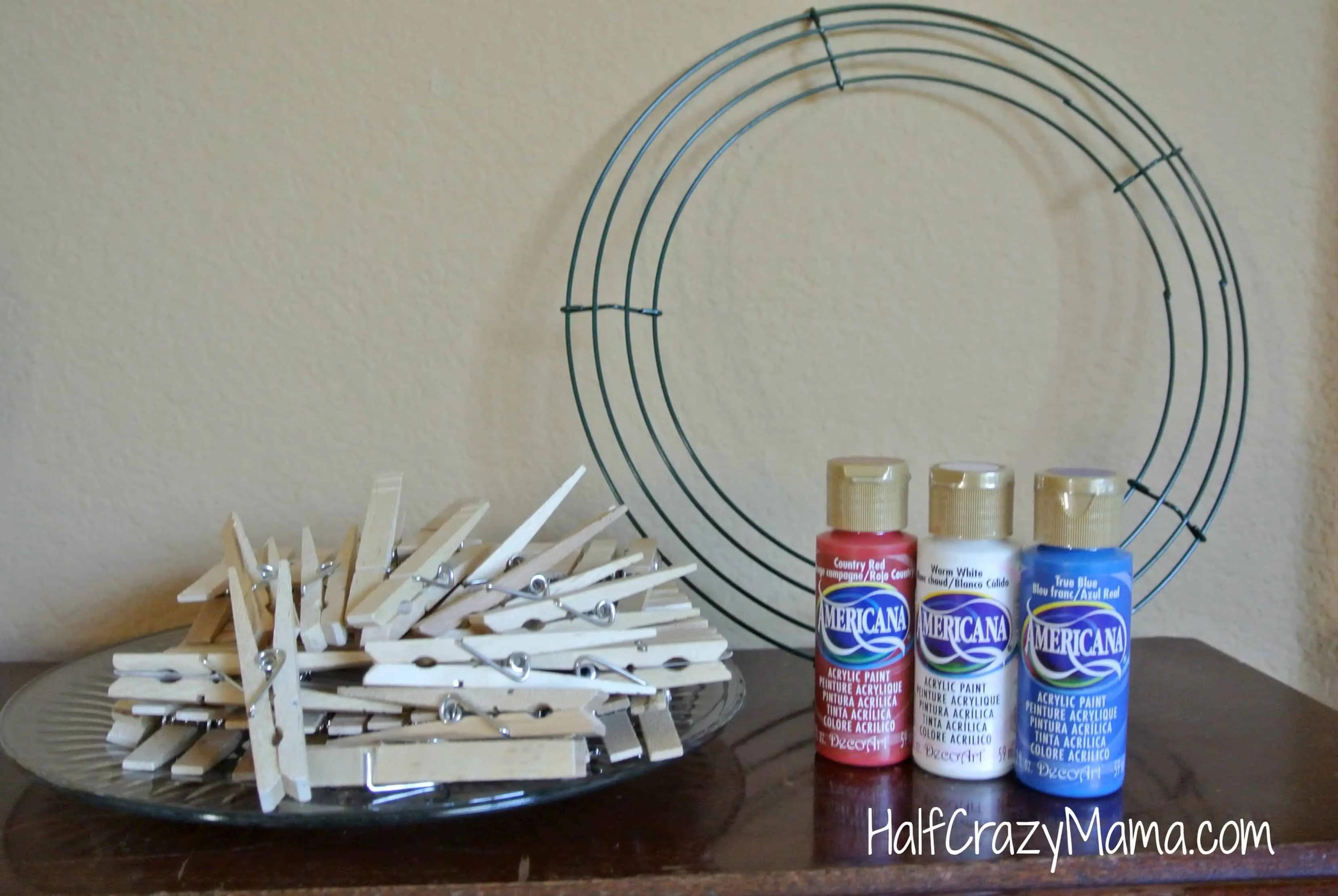 clothespin wreath supplies