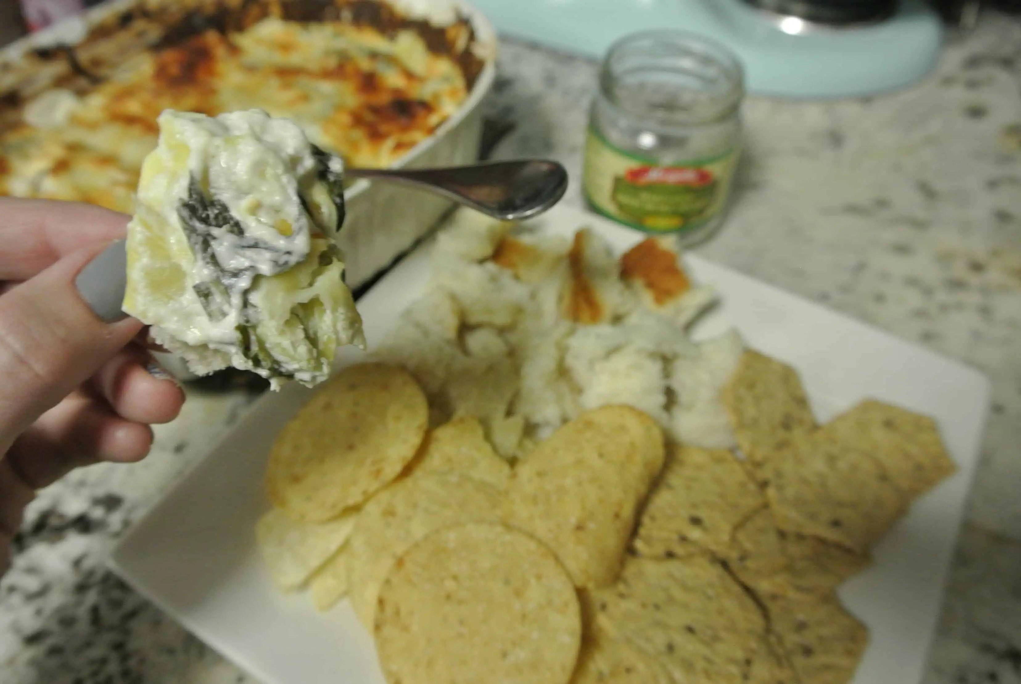 healthier hot artichoke spinach dip
