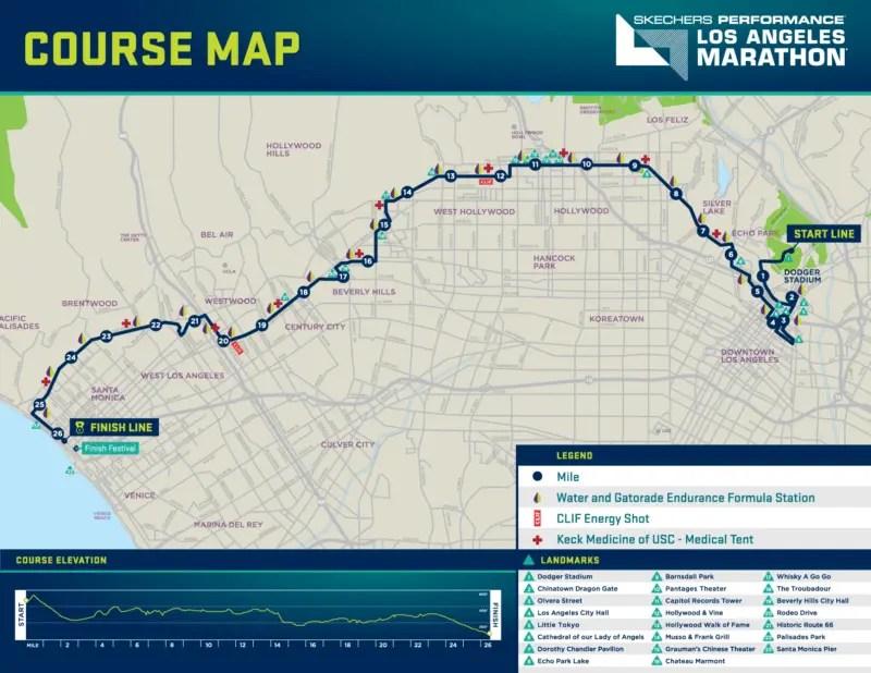 Los Angles Marathon Course Map