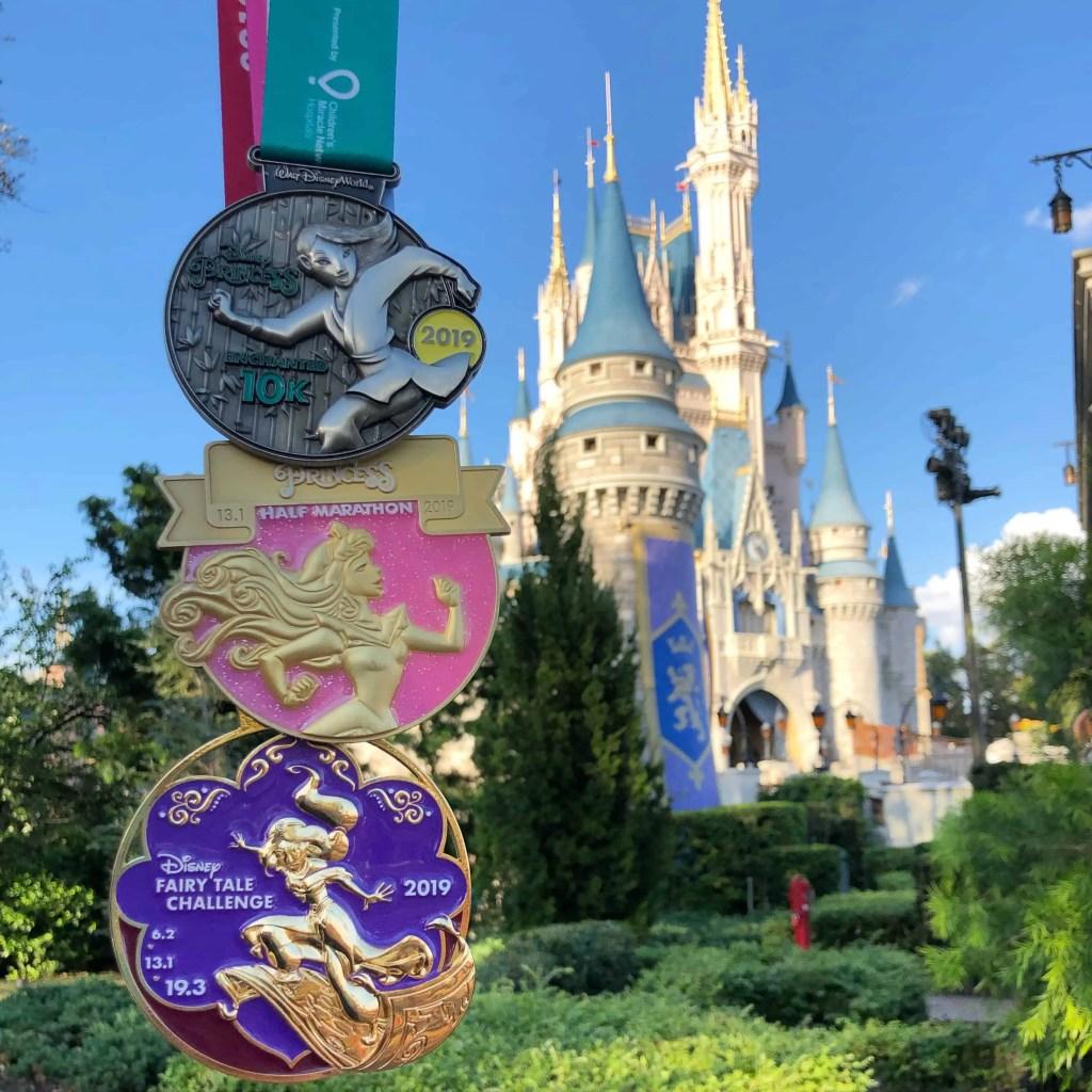 Princess Half Marathon medals and castle