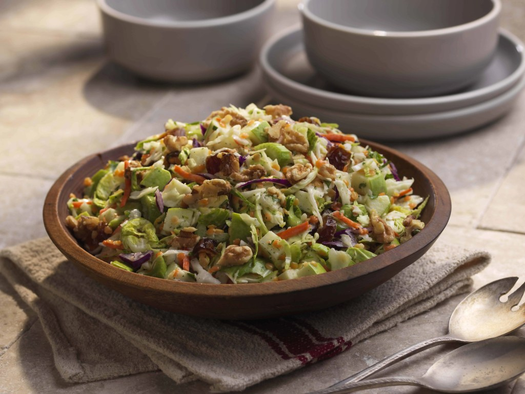 Sweet Apple Shaved Brussels Sprouts and Lentils