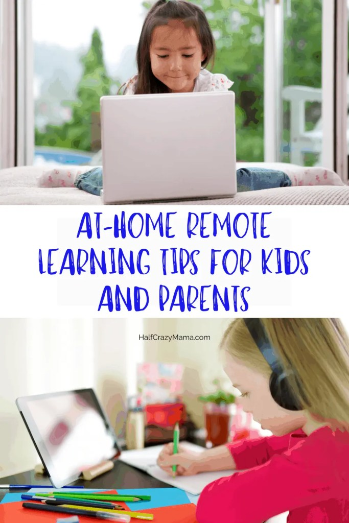 children doing school at home