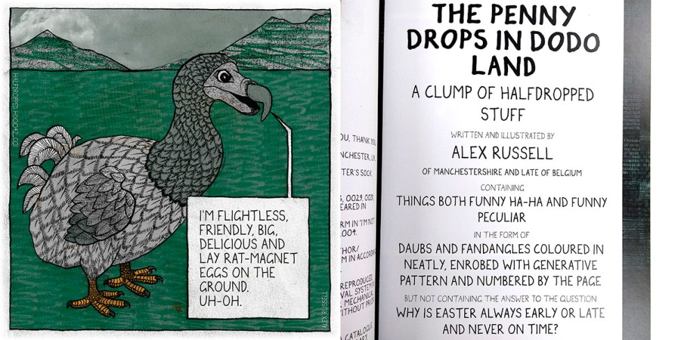 The Penny Drops In Dodo Land front cover (on the left) and the Title Page of the book (on the right).