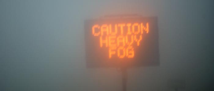 Foggy photo warning of heavy fog