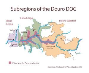 Kaart Douro Port rode wijn portugal