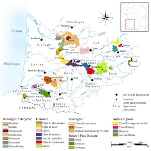 Kaart Sud Ouest Les Landes Frankrijk