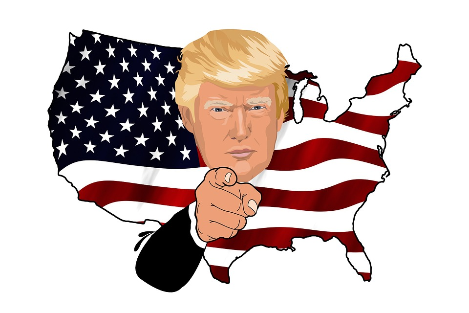 america trump flag map