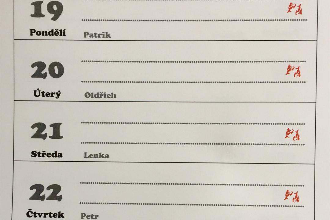 Czech name calendar