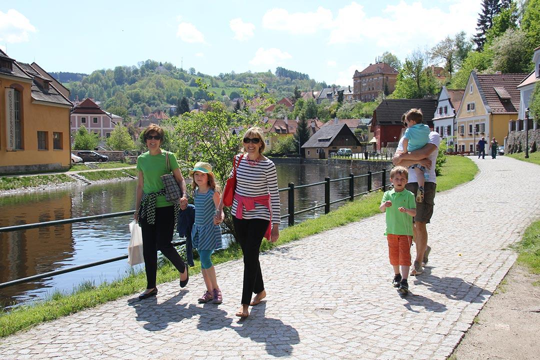 Walking in Český Krumlov with the Pruchas, Beth Gates and Susan Brooks.