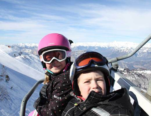 Anna and Oliver in ski lift
