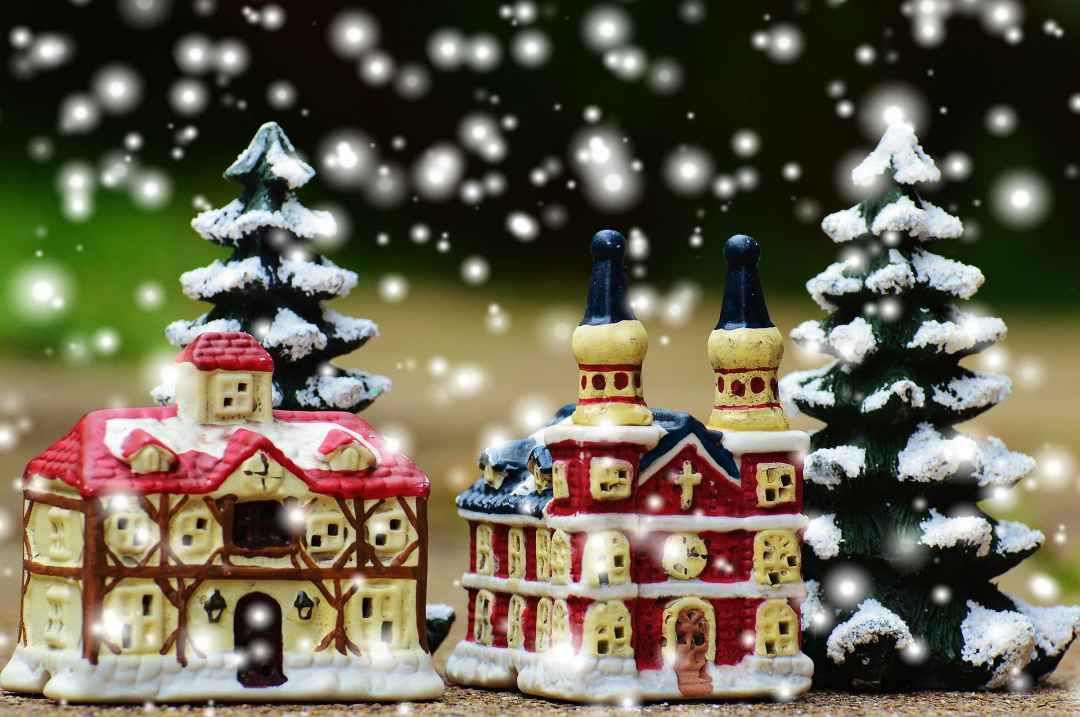 scene of miniature Christmas village