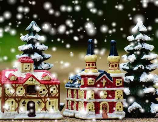 scene of miniature Christmas village