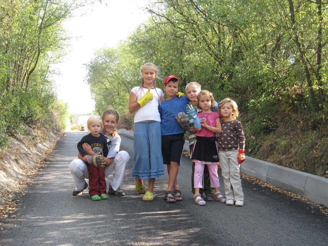 children on the newly paved road