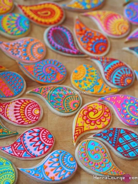 Henna tattoo cookies. East Indian Boho, Bollywood inspired party favors. Small World gets big with cultural party themes | Halfpint Design