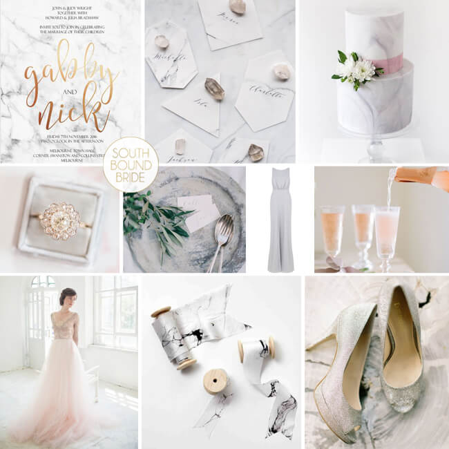 Many elements from this marble and blush wedding inspiration board transition well to sophisticated birthday parties. Pattern Party Trends | Halfpint Design - Trend Spotting, color trends, party trends