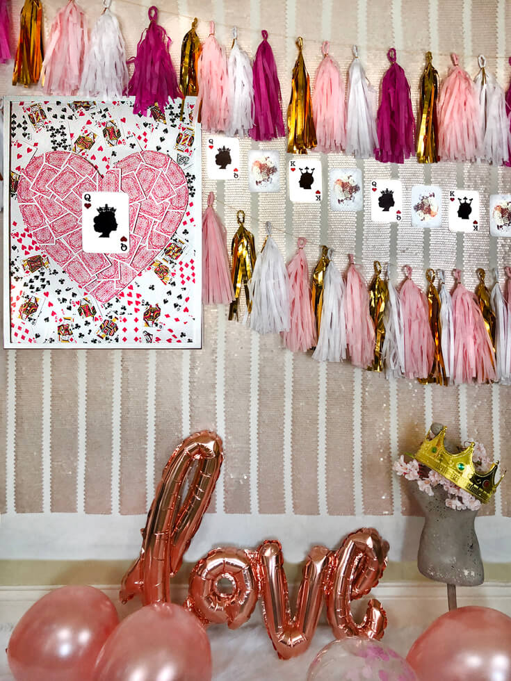 This Queen of hearts art is a simple way to step up your Valentine game. Use it as Valentine's mantel decor, as part of a royal valentine photo booth, or an Alice in Wonderland party. At Halfpint Design