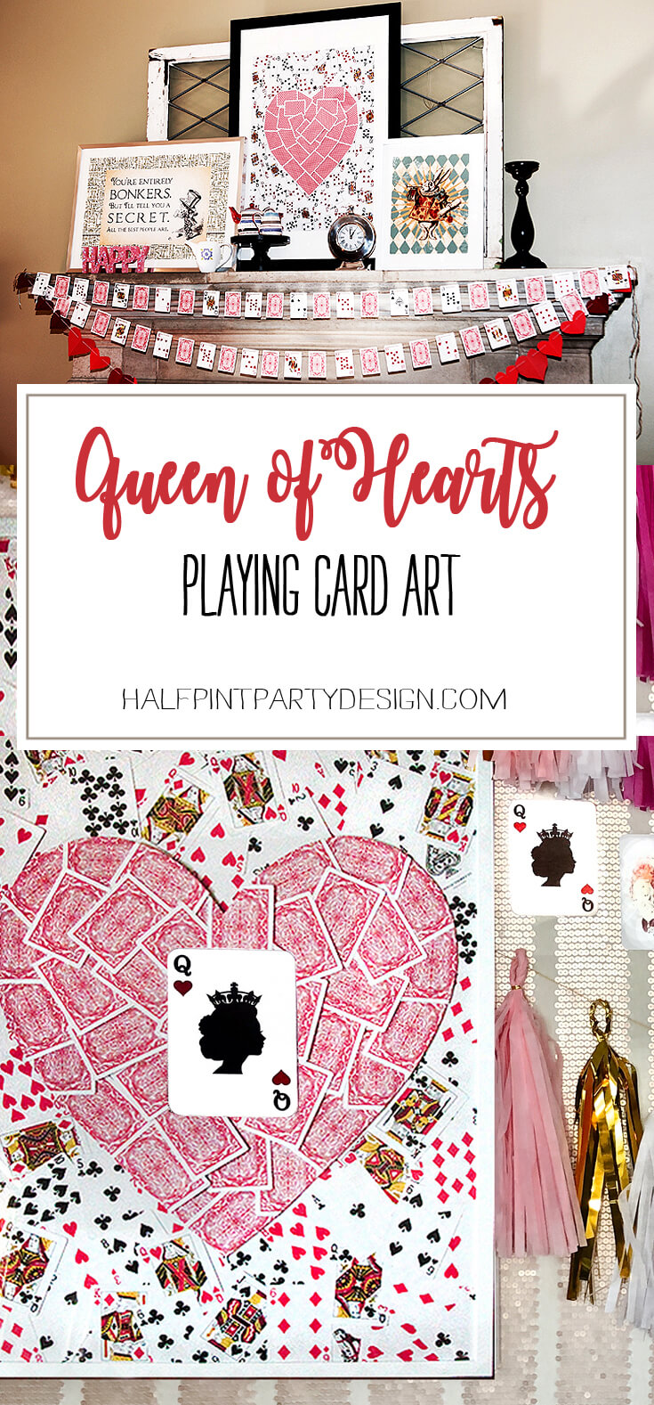 This Queen of Hearts Art DIY is such a fun addition to Valentine's mantel decor, Alice in Wonderland, Queen of Hearts birthday or Bachelorette party. Check out how easy it is to complete at Halfpint Party Design.