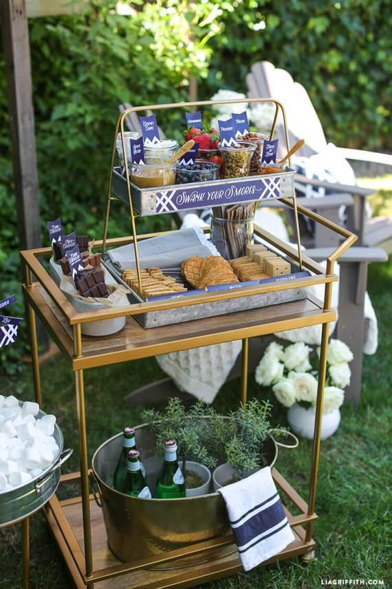 Top Party Trends for 2017. Trend 1: Still loving nature...fairy garden, lumberjack, camping, glamping, woodland, cactus. | Halfpint Design - S'mores bar for an outdoor camping party