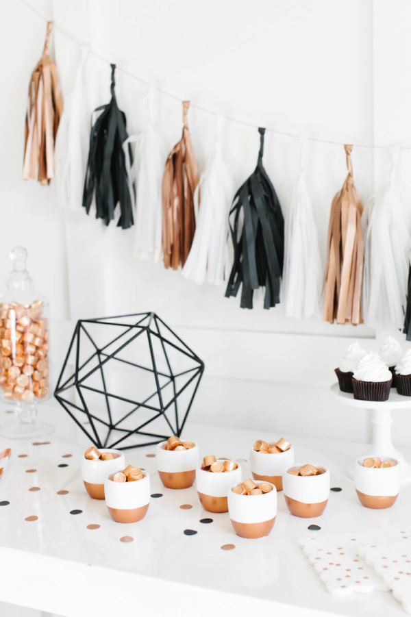 """Love the stark contrast with the copper focus. Top party trends for 2017: """"No theme"""" party using pattern and color. Confetti balloons are seriously the BEST! Can you imagine how fun that will be at your next event!? Top party trends of 2017: Have a """"No theme"""" party with pattern and color. Pattern Party Trend 