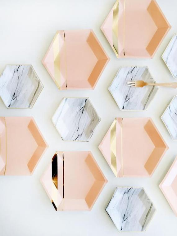 """Sick of overdone events? Stay classy with """"no theme"""" parties featuring pattern and color. These marbled and metallic hexagon plates are a gorgeous addition to any party. Pattern Party Trend 