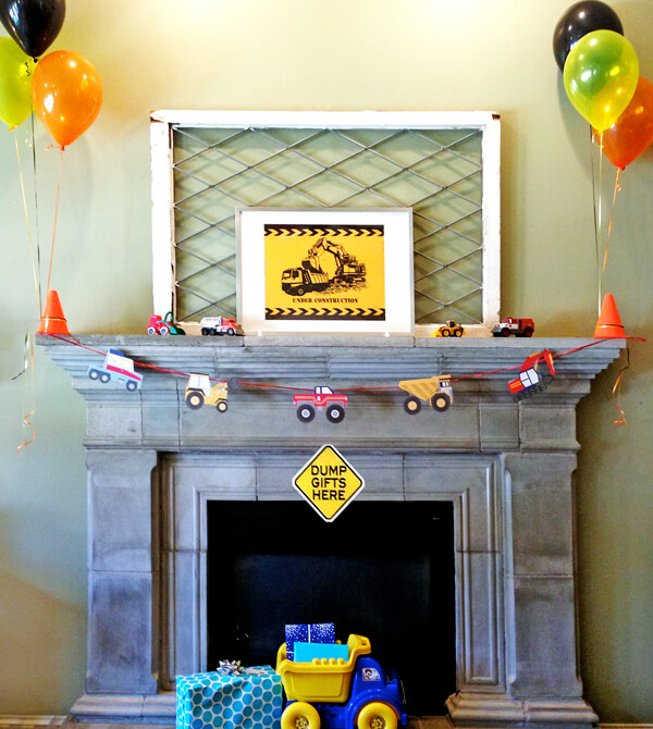 Construction 3rd birthday party blast | Halfpint Party - simple mantel decorations for a construction party