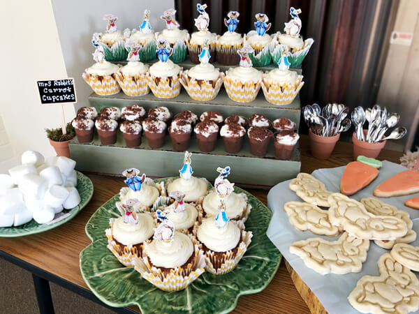 Peter Rabbit in Mr. McGregor's Garden First Birthday Party | Halfpint Design - Dessert bar - cupcakes, cookies, bunny tail marshmallows, chocolate (avocado) pudding
