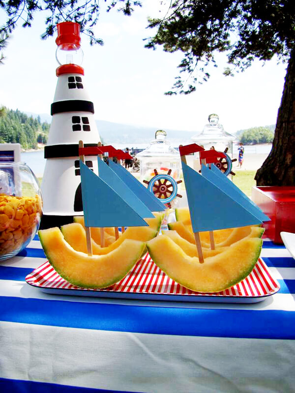 Why I Say NO to Dessert Buffets | Halfpint Design - Kids these days already consume way too much sugar. Let's give them all the fun without the crash. Making regular food fun! Cantaloupe sailboats for a nautical party.