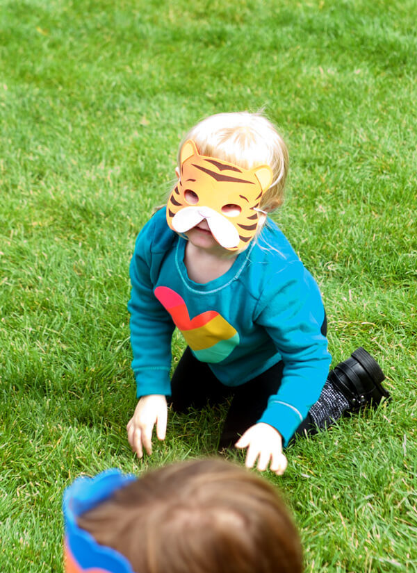 Feature Friday: Party Animals birthday! | Halfpint Design - the kids loved acting out an animal in their masks! Super funny when they didn't know what sound they made.