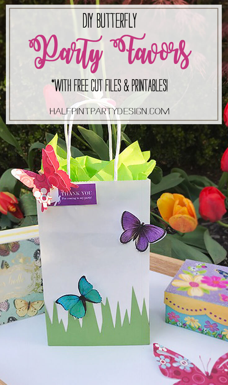 DIY Butterfly Party Favor   Halfpint Design - Cute little favor bag with butterfly printables and free SVG cut files!