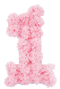 Planning Your First Children's Birthday Party | Halfpint Design - This floral one is a beautiful backdrop for the cake table, photo booth, or food buffet at any first birthday party. Comes in pink and blue. Warning: Does take about an hour to fluff.