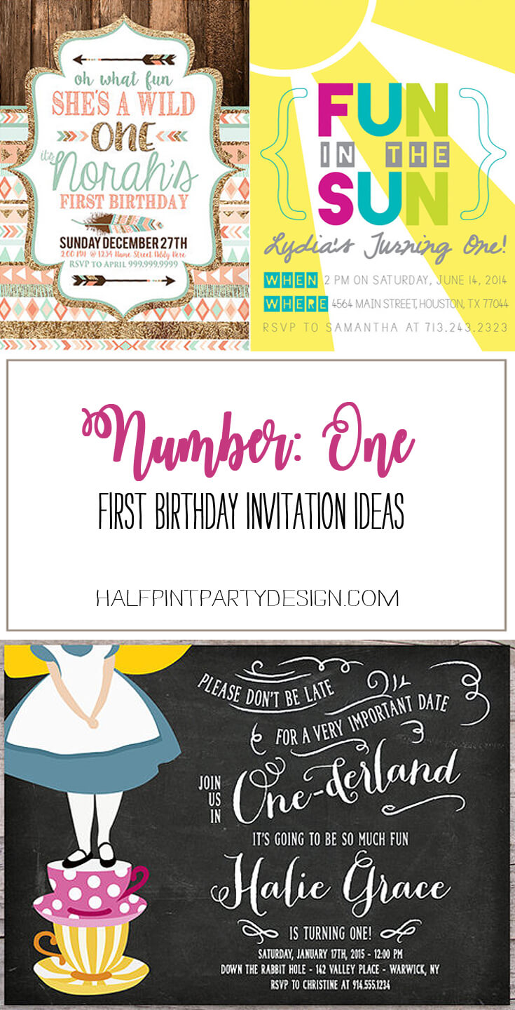 Party by Number: ONE - Halfpint Design - Great first birthday party invitation ideas