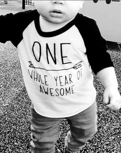 "Planning Your First Children's Birthday Party | Halfpint Design - The perfect party outfit for a little boy's first birthday celebration. ""One whole year of awesome"" t-shirt"