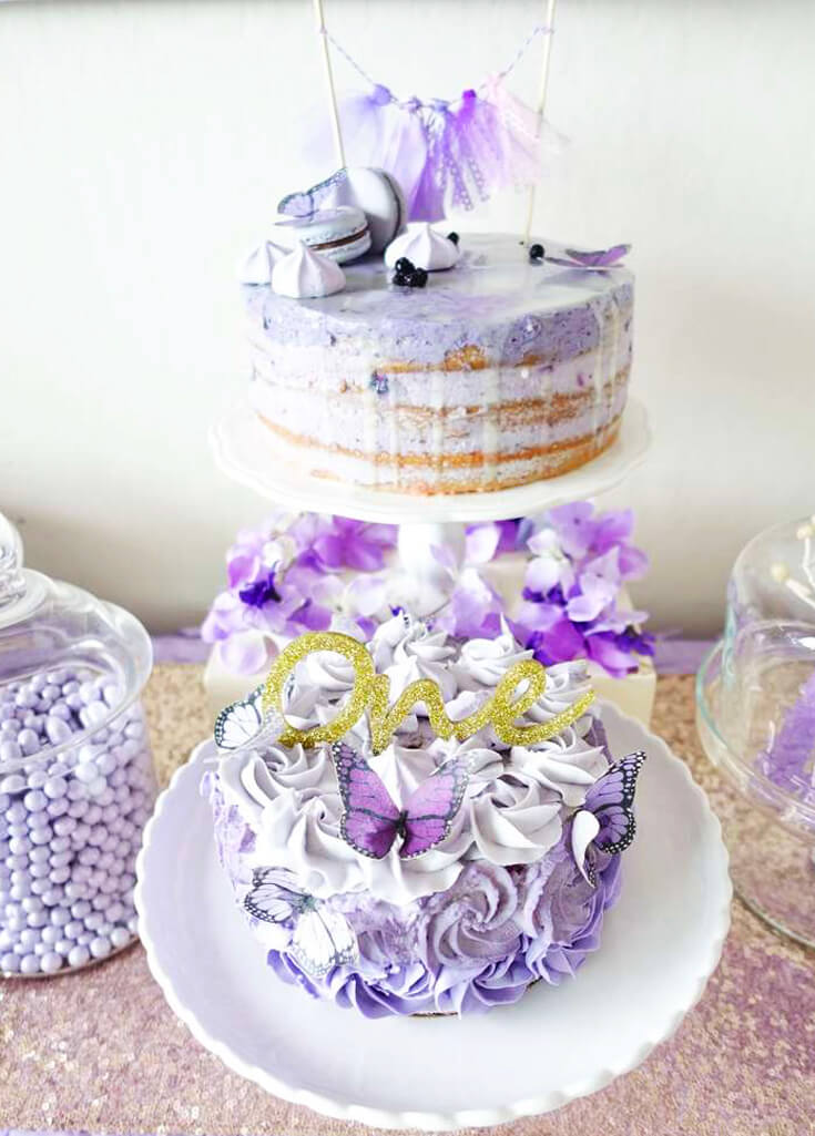 A Passion for Purple   Halfpint Design - I love simple cakes and this lovely naked cake is complemented by a fully frosted rosette cake below. All sporting cut butterflies in purple.