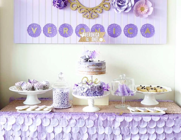 A Passion for Purple   Halfpint Design - A sweet purple first birthday featuring a lovely cake and tablecloth